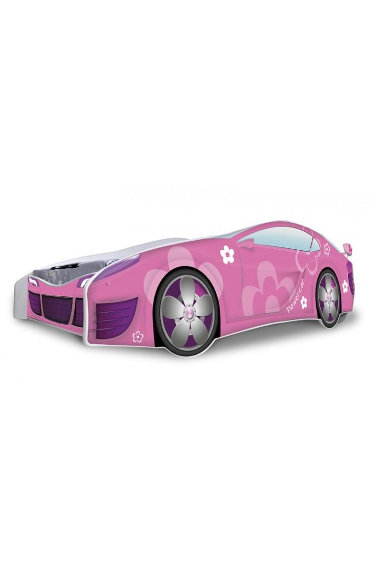 Letto macchina bambina fiori rosa con materasso 180x80 cm - Letto bimbo macchina ...