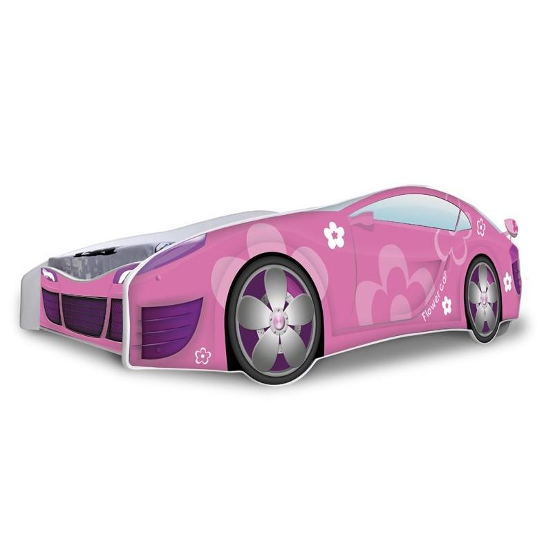 Letto macchina bambina fiori rosa con materasso 180x80 cm.jpg