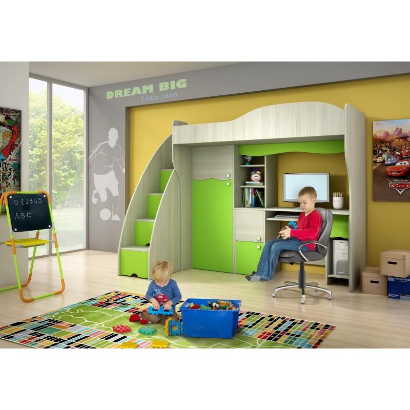 Letto a soppalco con scrivania e armadio Verde Fiaba 190x80 cm