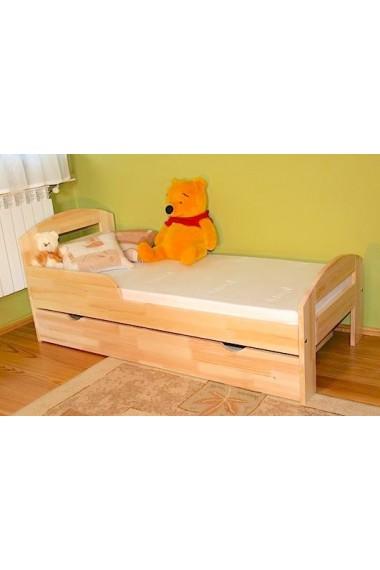 Letto singolo in legno di pino massello Tim2 con cassetto 180x80 cm