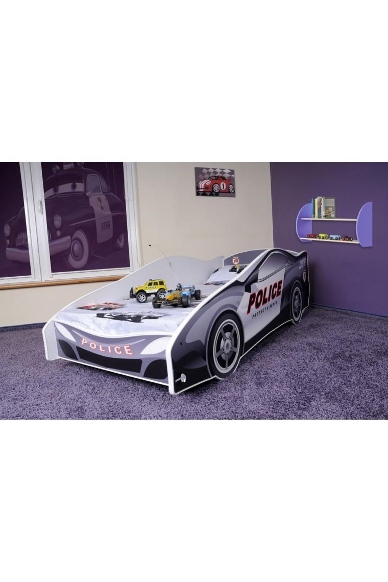 Letto macchina della polizia con materasso 180x80 cm - Letto bimbo auto ...