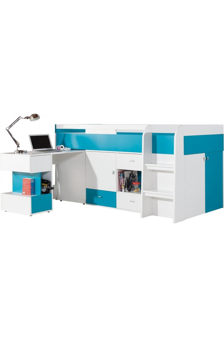 Letto a soppalco con scrivania mobby 200x90 cm for Letto scrivania