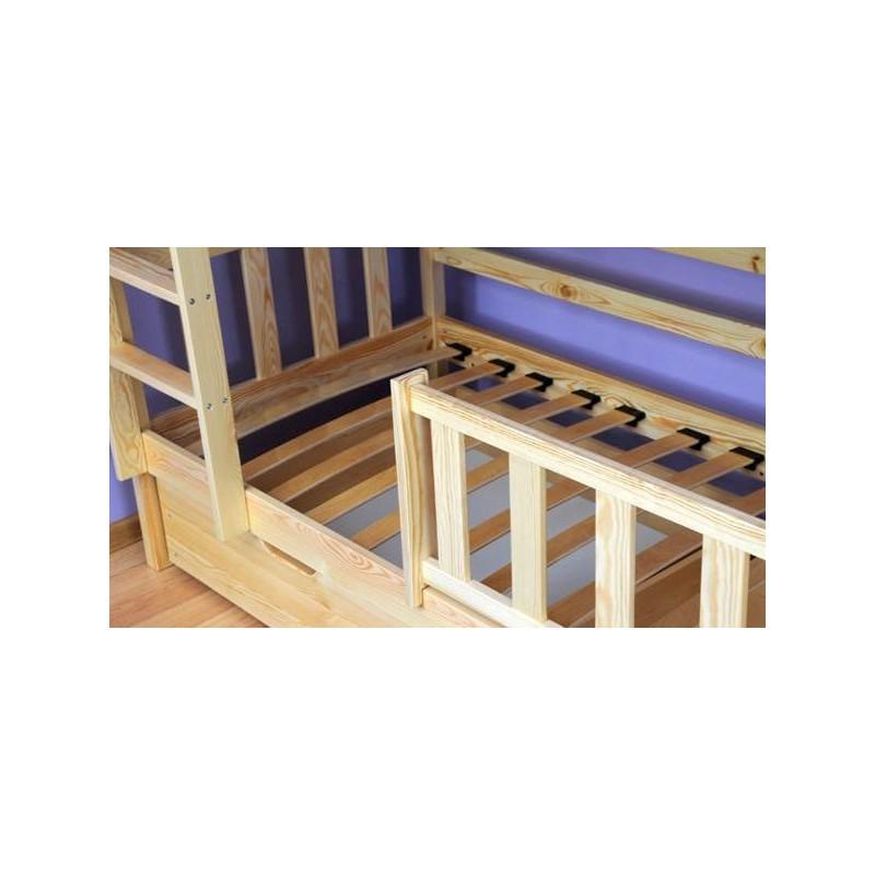 Letto a castello in legno massello bambi con cassetti 160x70 cm - Letto a castello in legno massello ...