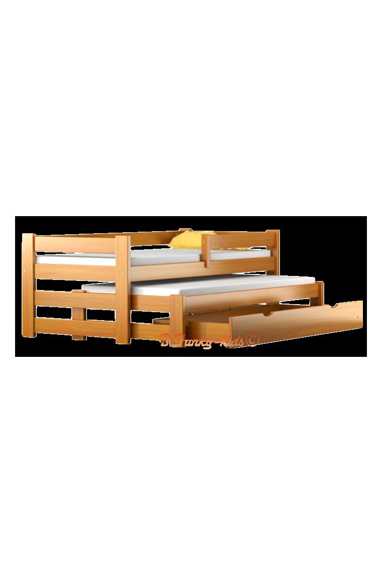 Letto scorrevole estraibile in legno massello con cassetto e matera...