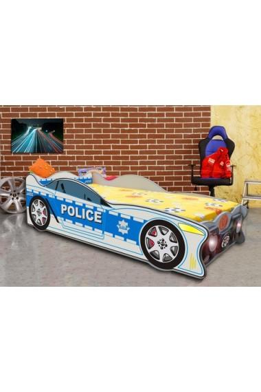 Letto macchina polizia speedy con luci e materasso 160x80