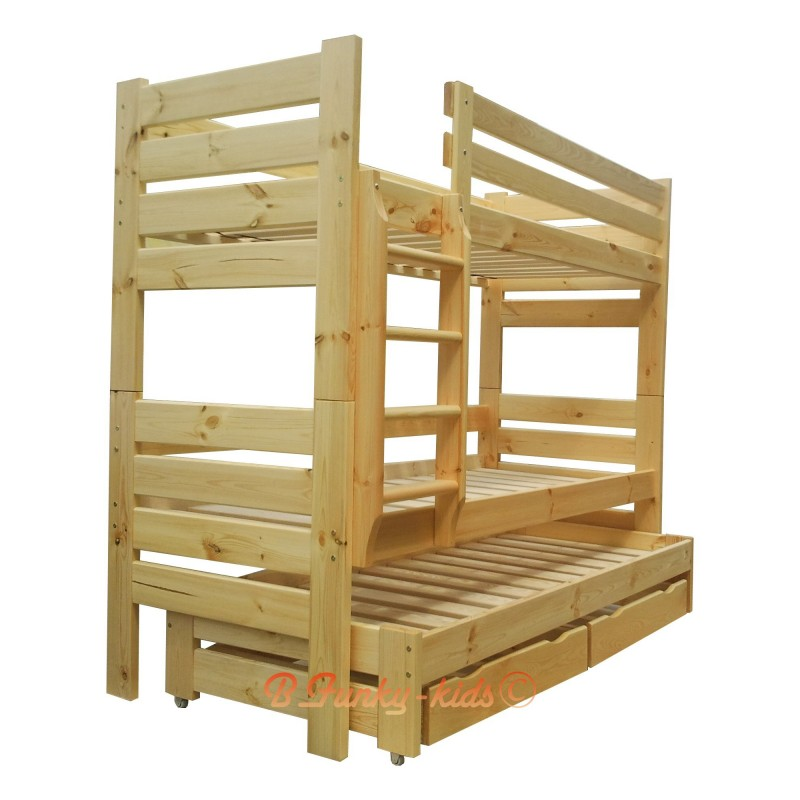 Letto a castello con estraibile in legno massello gustavo for Letti a castello per 3 bambini