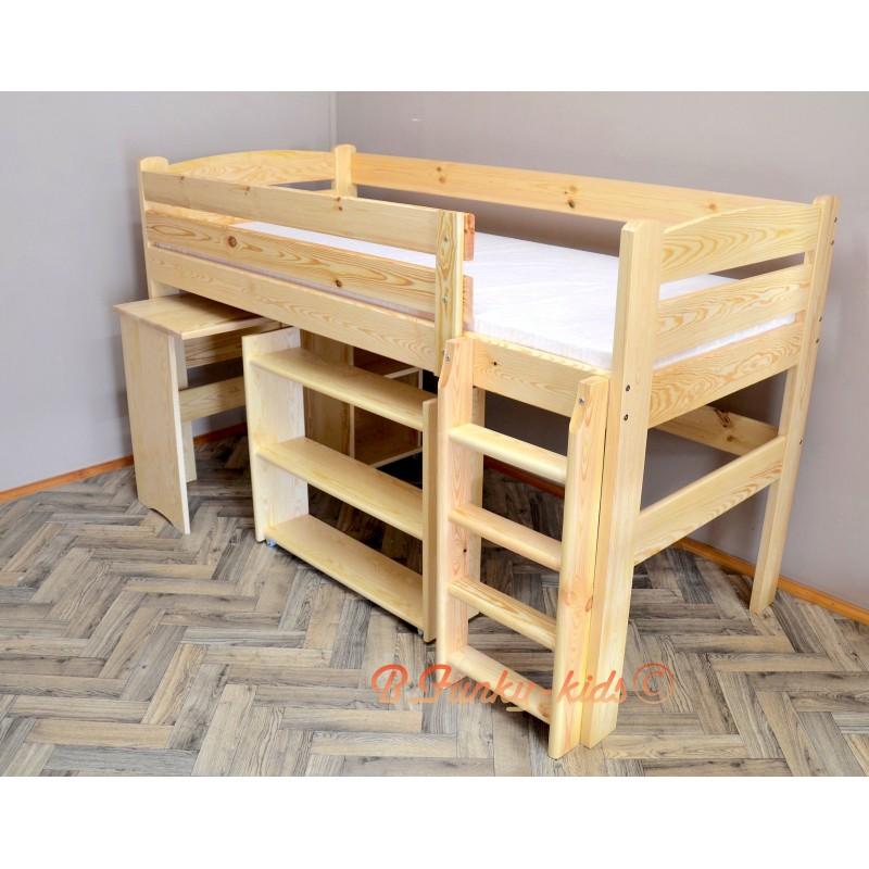 Letto a soppalco con scrivania e mensole bella 200x90 cm for Letto a soppalco