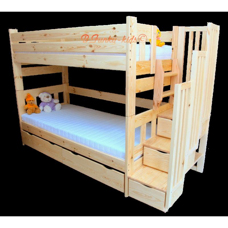 Letto a castello con scala contenitore enrique 200x90 cm - Scaletta letto a castello ...