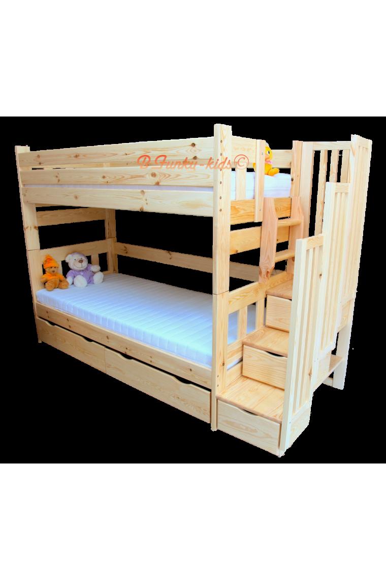 Letto a castello con scala contenitore e letto estraibile - Letto a castello per adulti ...