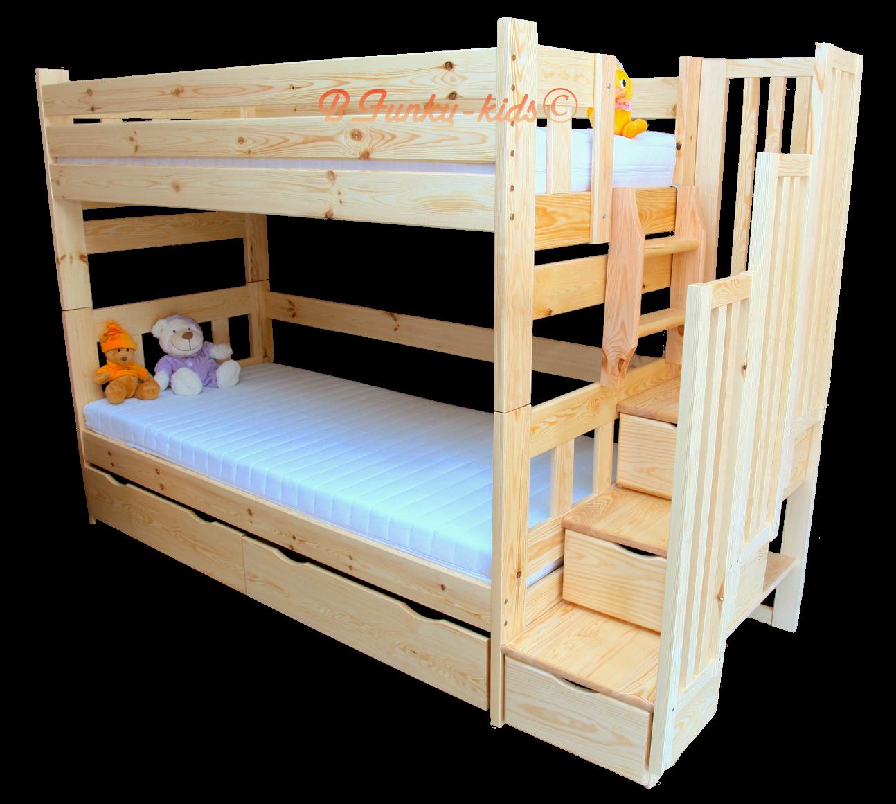 Letto a castello con scala contenitore e letto estraibile for Letti a castello per 3 bambini