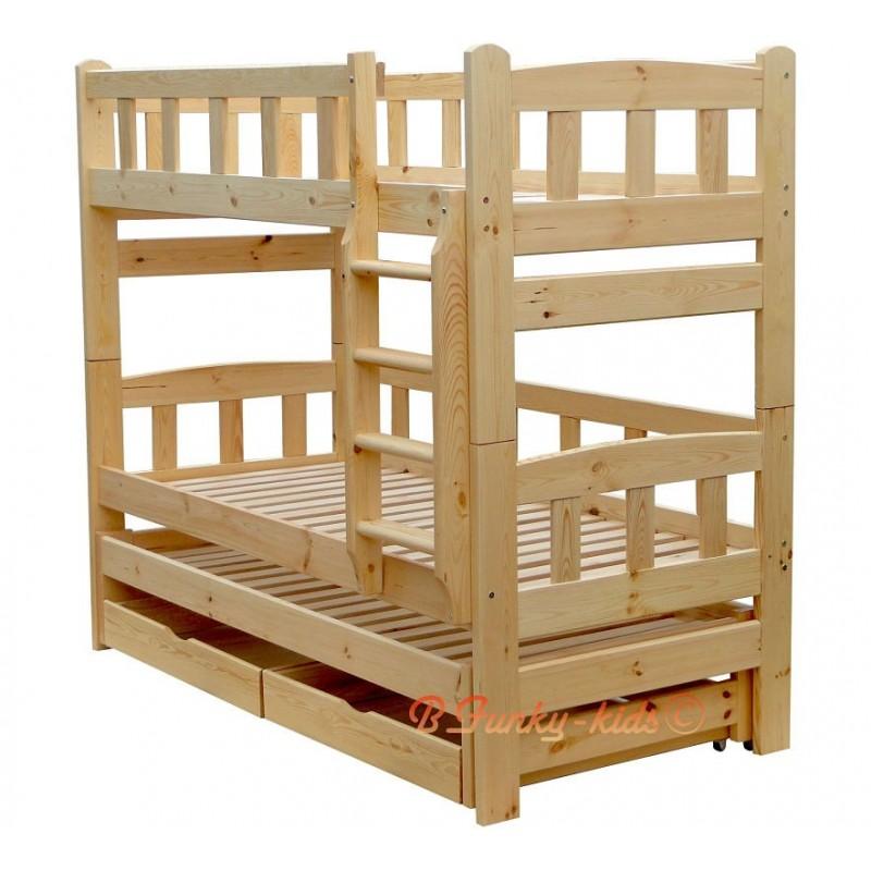 Letto a castello con estraibile in legno massello nicolas 3 con cas - Letto a castello 3 posti ...