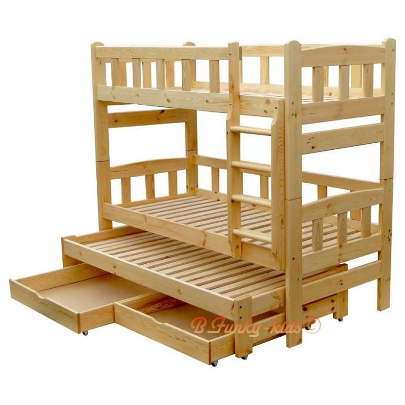 Letto a castello con estraibile in legno massello nicolas - Letto con scrivania estraibile ...