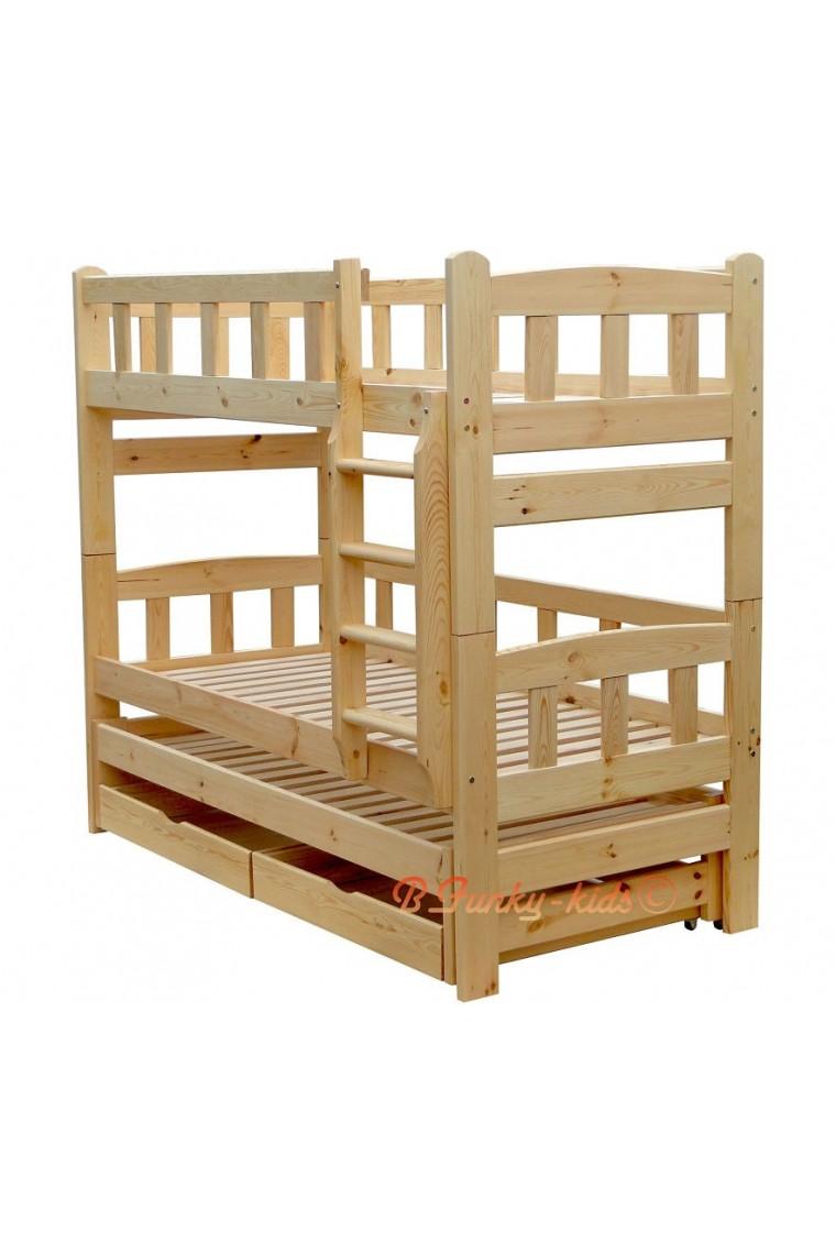 Letto a castello con estraibile in legno massello nicolas for Letti a castello per 3 bambini