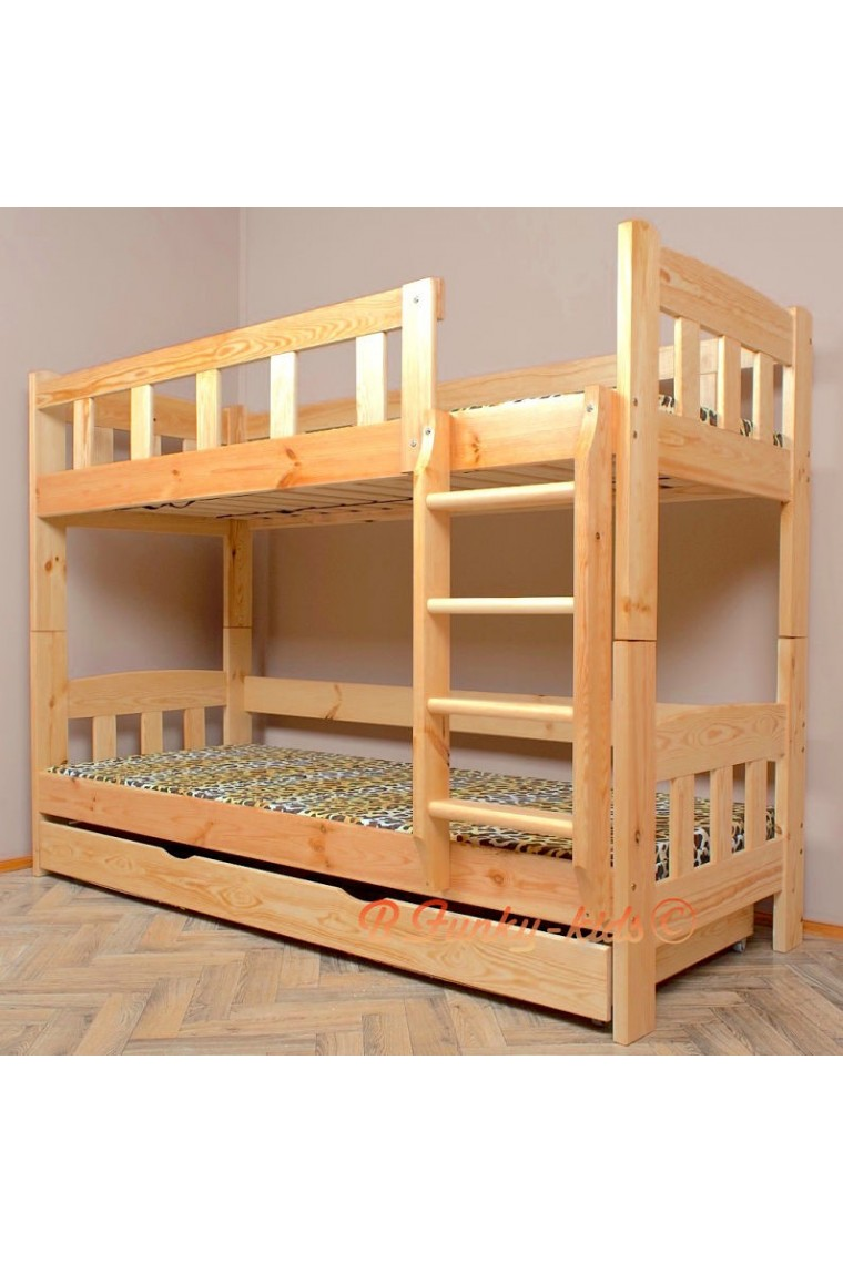Letto a castello in legno massello inez con materassi e cassetto 18 - Letto a castello legno ikea ...