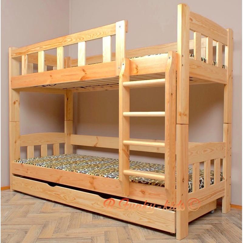 Letto a castello in legno massello inez con materassi e cassetto 16 - Letto per bambini 160 80 ...