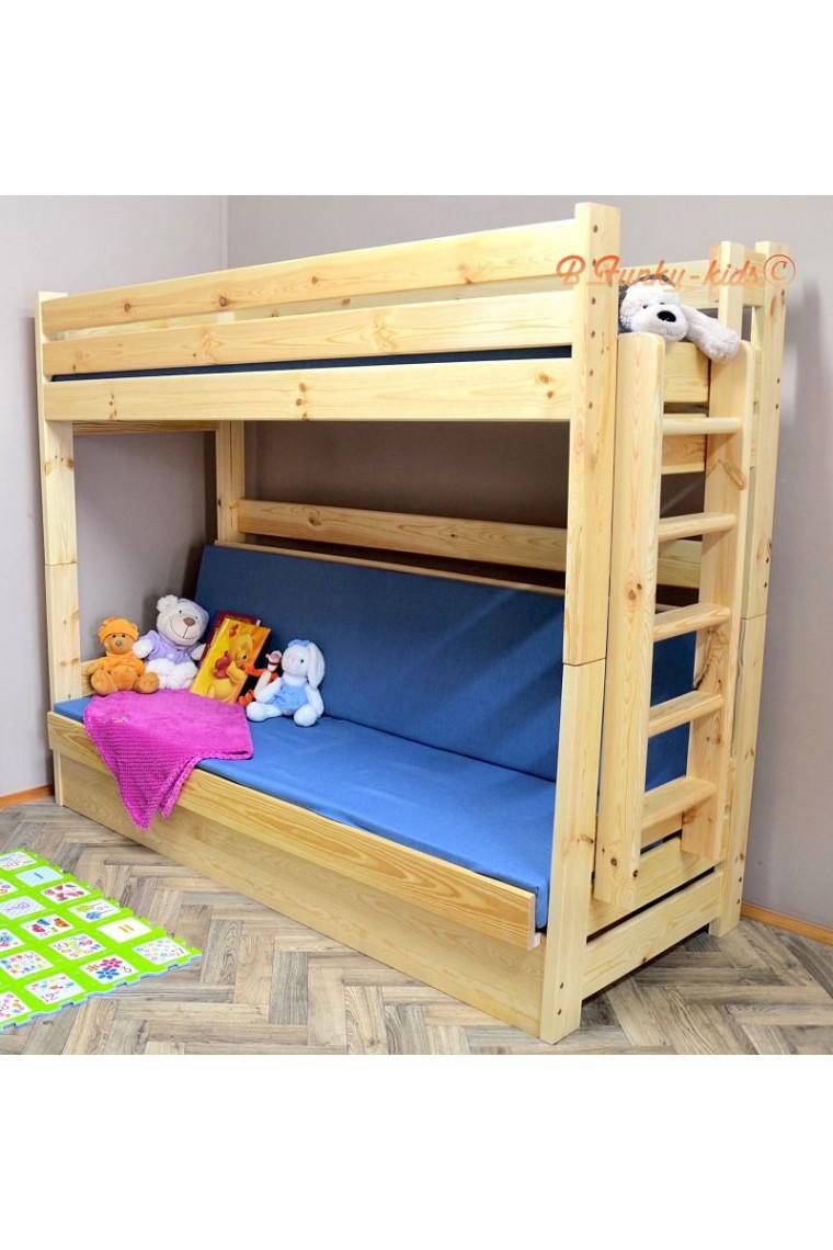 Letto a castello in legno massello Carlos con materassi 180x80 e 18...