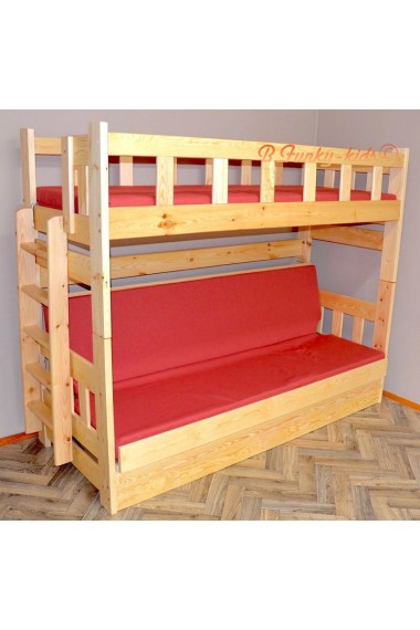 Letto a castello in legno massello Fabio con materassi 180x80 e 180...