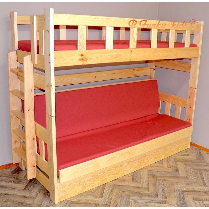 Letto a castello in legno massello fabio con materassi 200x90 e 200 - Letto a castello ...