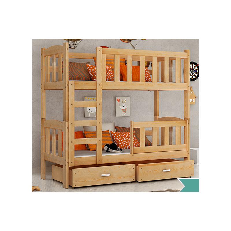 Letto a castello in legno massello bambi con materassi e cassetti 1 - Letto a castello legno ikea ...