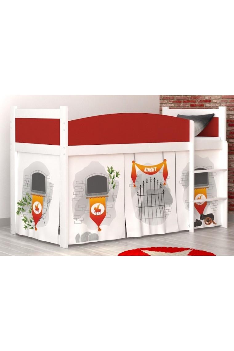 Letto a soppalco castello con materasso e tende for 1 box auto con soppalco