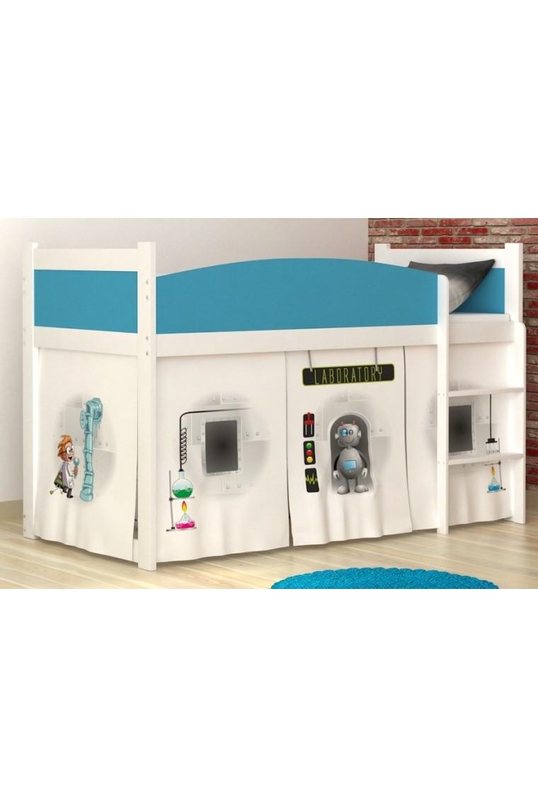 Letto a soppalco laboratorio con materasso e tende for 1 box auto con soppalco