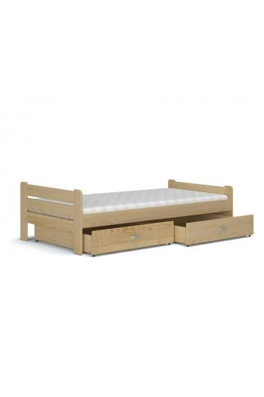 Letto singolo in legno di pino massello Bruno con cassetto e matera...