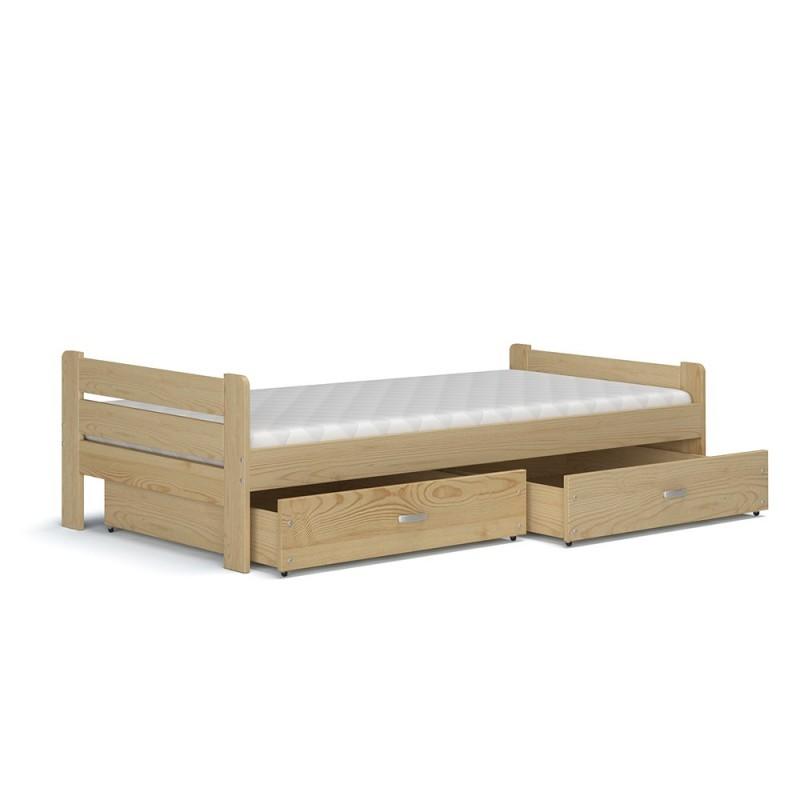Letto singolo in legno di pino massello bruno con cassetto for Letto singolo con materasso