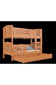Letto a castello in legno massello Jacob 2 con cassetto 190x80 cm