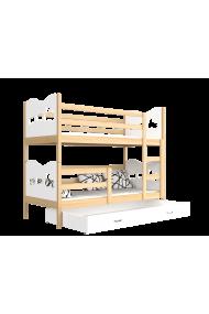 Letto a castello in legno massello 190x80 cm Trenino Farfalle Cuori