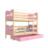Letto a castello in legno massello 190x80 cm
