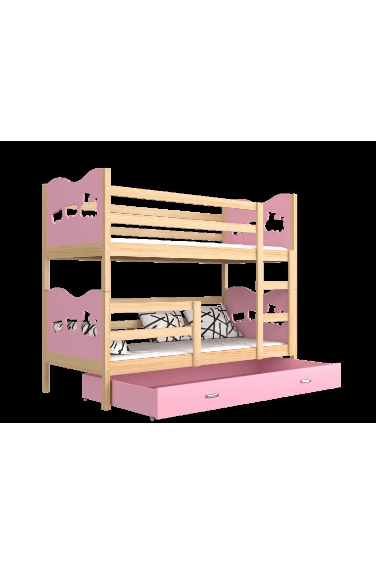 Letto a castello in legno massello 190x80 cm trenino farfalle cuori - Letto a castello in legno massello ...