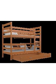 Letto a castello in legno massello Jack con cassettio190x80 cm