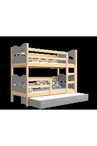 Letto a castello con estraibile in legno massello con materassi e cassetto 180x80 cm