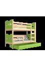 Letto a castello in legno massello 160x80 cm