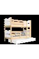 Letto a castello in legno massello 160x80 cm Trenino Farfalle Cuori