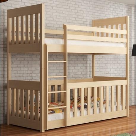Letto a castello in legno massello e box 2 in 1 Cris 180x80 cm