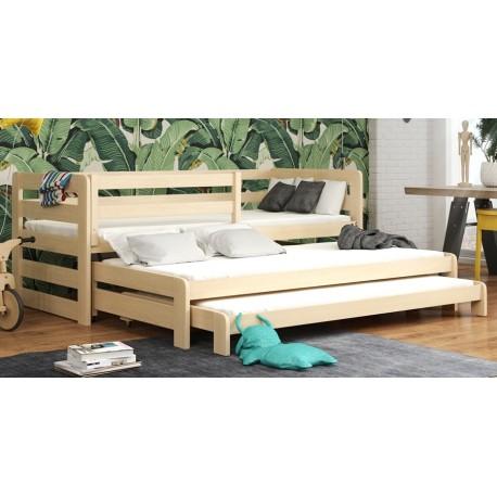 Letto scorrevole estraibile in legno massello per 3 Rico 180x80 cm