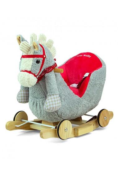 Cavallo a dondolo Polly grigio-rosso