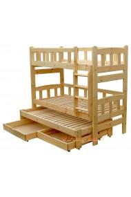 Letto a castello con estraibile in legno massello Nicolas 3 con cassetti 190x90 cm
