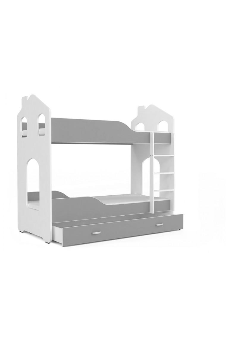 Letto a castello con materassi Casetta 160x80 cm