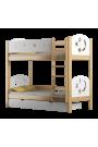 Letto a castello in legno massello Luna 160x80 cm