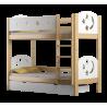 Letto a castello in legno massello Luna 200x90 cm