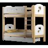 Letto a castello in legno massello Cuori 180x80 cm