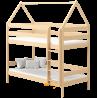 Letto a castello in legno massello Casetta 180x80 cm