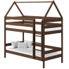 Letto a castello in legno massello Casetta 190x90 cm