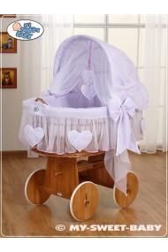 Culla vimini neonato Cuori - Viola