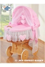 Culla vimini neonato Cuori - Rosa