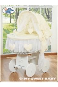 Culla vimini neonato Cuore - Crema-Bianco