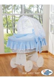 Culla vimini neonato Glamour - Blu-Bianco