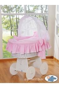Culla vimini neonato Glamour - Rosa-Bianco